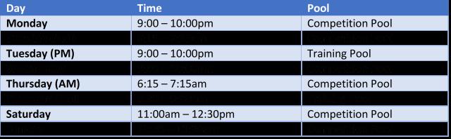 Training Schedule 2021-22